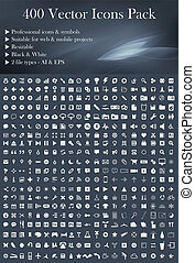 vektor, (white), pakke, iconerne, 400