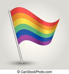 vektor, winkende , einfache , dreieck, regenbogen, fahne, auf, geneigt, silber, stange, -, ikone, von, schwul, leute