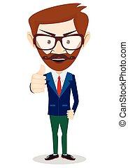 vektor, winking, give, tommelfingre, cartoon, mand, aktie, smil, firma, oppe., illustration