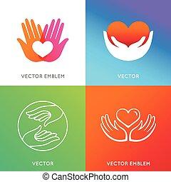 vektor, wohltätigkeit, und, freiwilliger, begriffe
