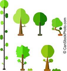 vektor, wohnung, busch, satz, bäume