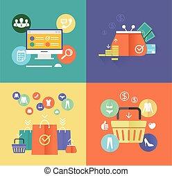 vektor, wohnung, design, digital, marketing, begriff, card.