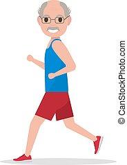 vektor, wohnung, karikatur, alter mann, rennender , jogging