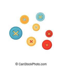 vektor, wohnung, satz, bunte, nähen, tasten, thema, holes., damenschneiderei, accessories., kleidung, vier