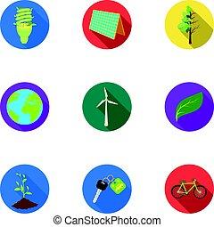 vektor, wohnung, stil, ökologie, illustration., kampf, wege, symbol, ökologie, probleme, sammlung, ravages.bio, satz, ikone, erde, bestand