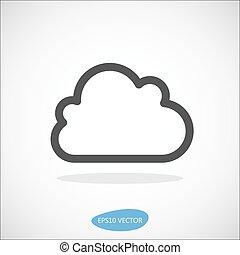 vektor, -, wolke, abbildung, ikone