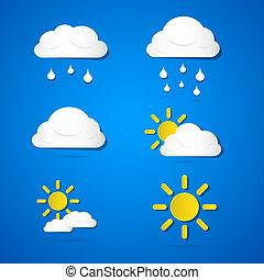 vektor, wolkenhimmel, icons., wetter, regen, sonne