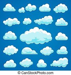 vektor, wolkenhimmel, karikatur, sammlung