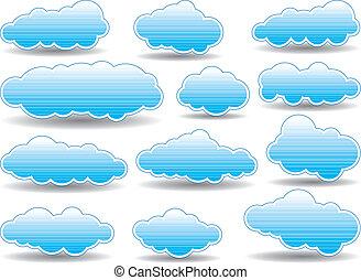vektor, wolkenhimmel, sammlung