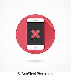 vektor, x, smartphone, ikon, märke