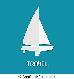 vektor, yacht, clipart, illustration
