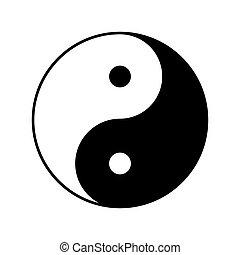 vektor, yin, ikon, yang, jelkép, design.