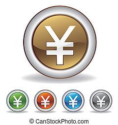 vektor, yuan, ikona