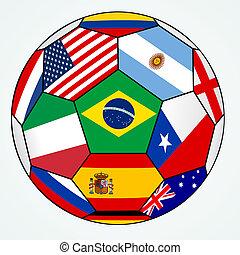 vektor, zászlók, futball, különféle