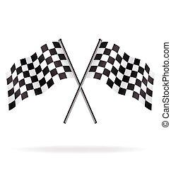 vektor, zászlók, tarka, versenyzés, ikergyermek, repülés, kockás