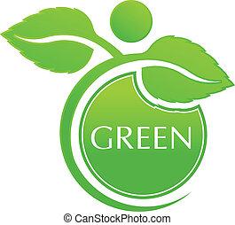 vektor, zöld, emberek
