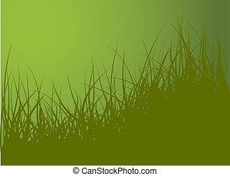 vektor, zöld fű, háttér