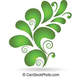 vektor, zöld, floral tervezés, dekoráció, elem
