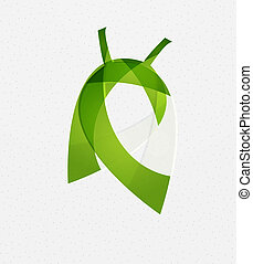 vektor, zöld, fogalom, levél növényen