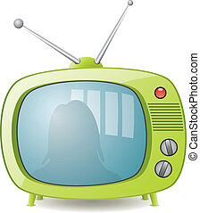 vektor, zöld, retro, televízió díszlet