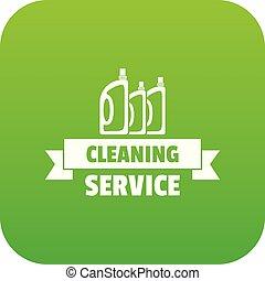 vektor, zöld, takarítás, szolgáltatás, ikon