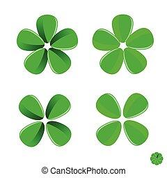 vektor, zöld, virág, ábra