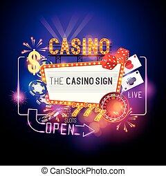 vektor, zeichen, kasino