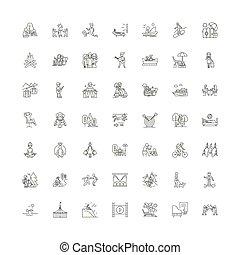 vektor, zeit, satz, zeichen & schilder, heiligenbilder, frei, linie, symbole, abbildung, linear