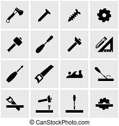 vektor, zimmerhandwerk, satz, schwarz, ikone