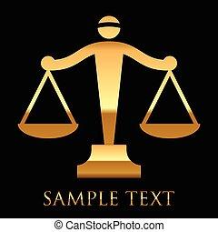 vektor, zlatý, ikona, o, soudce, váhy, dále, temný grafické...