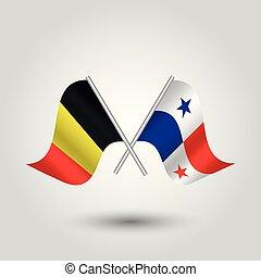 vektor, zwei, gekreuzt, belgischen , und, panamamian, flaggen, auf, silber, stöcke, -, symbol, von, belgien, und, panama