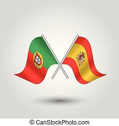 vektor, zwei, gekreuzt, portugiesisch, und, spanischer , flaggen, auf, silber, stöcke, -, symbol, von, portugal, und, spanien