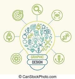 vektorgrafik, design, begriff