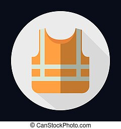 vektorgrafik, jacke, industrie, sicherheit, orange, sicherheit, icon.