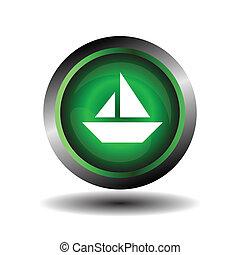 vela, ícone, ligado, redondo, internet, botão