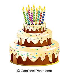 vela aniversário, bolo