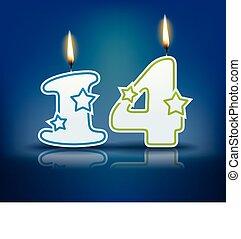 vela, aniversário, número, 14