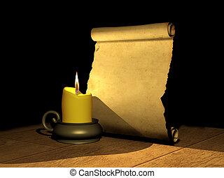 vela, antiguo, manuscrito, abrasador