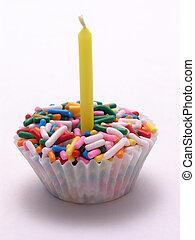 vela, asperja, amarillo, cupcake