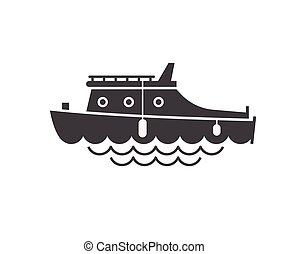 vela, barco, contorno, icono