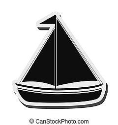 vela, barco, icono