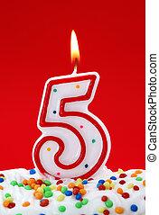 vela, cumpleaños, cinco, número