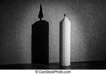 vela, en, oscuridad, con, proyector, elaboración, sombra,...