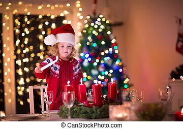 vela, jantar, mais claro, natal, criança