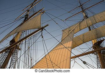 vela, ligado, histórico, navio