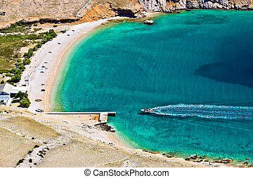 Vela luka turquoise beach aerial, Krk, Croatia