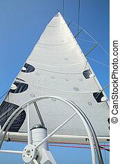 vela, mastro, leme, yacht., velas, vento