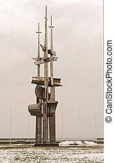 vela, memorial, monumento, em, gdynia, polônia