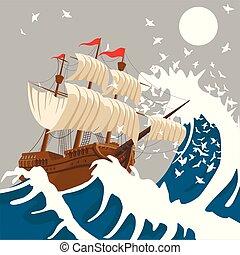vela, o, tormenta, tarde, mar, debajo, barco, luna, océano, ...