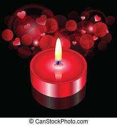vela, vector, ilustración, rojo